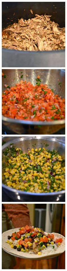 Made the Corn Salsa and the Cilantro Lime Rice for dinner tonight. long grain rice, a little sticky but tasted great anyway. Chipotle copycat recipe for carnitas, mild salsa, corn salsa burritos Chipotle Copycat Recipes, Pork Recipes, Mexican Food Recipes, Great Recipes, Vegetarian Recipes, Dinner Recipes, Cooking Recipes, Favorite Recipes, Healthy Recipes
