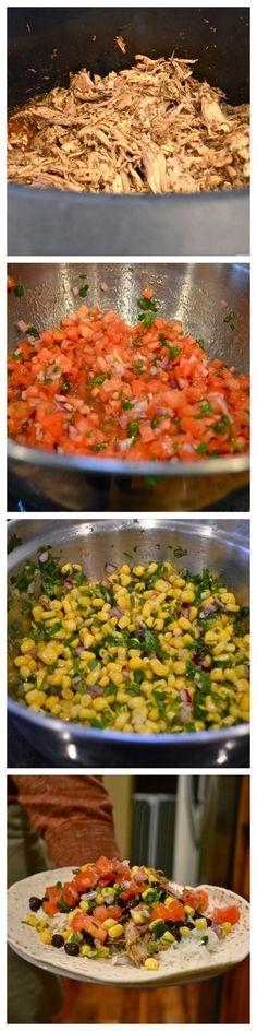 Chipotle copycat recipe for carnitas, mild salsa, corn salsa burritos #chipotlecopycat