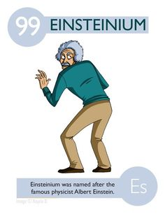 Einsteinium - named after the famous physicist Albert Einstein Chemical… Teaching Chemistry, Science Chemistry, Science Geek, Science Facts, Science Humor, Physical Science, Science Education, Science Experiments, Chemistry Lessons