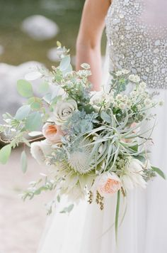 ::: Flowers by Lace and Lilies ::: Garden wedding, Colorado, Air Plant, Protea, Fall, Green, Muted, Pastel, Romantic, Bridal Bouquet, Floral, Soft, Eucalyptus, Monochromatic, Modern, White, Peach, Blush, Bride