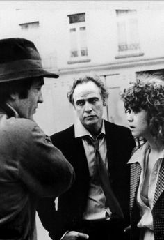 Bernardo Bertolucci, Marlon Brando & Maria Schneider on the set of Last Tango in Paris