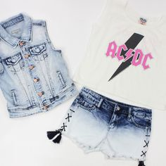 Rock and Roller Girl...Tractr denim vest and side tie ombre denim shorts with Junk Food ACDC tank 7-14.  Click the links to shop this look!  https://shopdennys.com/products/ad115-9936k-09  https://shopdennys.com/collections/bottoms-7-14-girl/products/22421d7wk-09  https://shopdennys.com/products/ad115-9936k-09