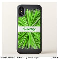 Burst of Green Lines Pattern (Black Background) Cool Phone Cases, Iphone Case Covers, New Green, Line Patterns, Black Backgrounds, Create Your Own, Names