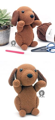 Cute Crochet Amigurumi Ideas. Aren't puppies just the cutest? We all wanted to have a sweet puppy when we were kids, right? Well, now even if your kid has allergies, you can make this adorable hound to cheer them up! The pattern could't be more simple and the toy has the ability to sit and stand by their own.  #freecrochetpattern #amigurumi #toy Stupid Memes, Cute Crochet, Allergies, Crochet Patterns, Teddy Bear, Puppies, Toys, Simple, Sweet