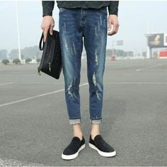 >> Click to Buy << Fashion 2017 Spring Summer Indoor Youth jeans men straight stretch leisure Blue trousers ripped hole Ankle Length Pencil Pants #Affiliate