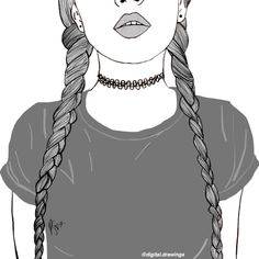 girl drawing black and white Tumblr Outline, Outline Art, Outline Drawings, Cute Drawings, Girl Drawings, Hipster Drawings, Pencil Drawings, Teenage Drawings, Tumblr Girl Drawing