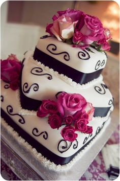 Black & White Square Wedding Cake