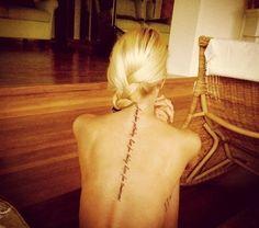 Spine tattoo.