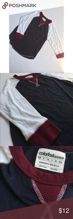 3/4 sleeve Baseball Tee Navy, White & Maroon 3/4 sleeve baseball Tee. Thermal, better for winter months. Size XS. colorfast apparel Tops Tees - Long Sleeve
