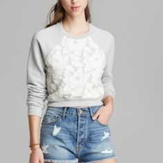Lace sweatshirt PRICE FIRM Brand new, never worn. Some stretching on shoulder from being hung on hanger. Should go back to shape with washing. 🚫No trades. All sales final. This brand is found at revolve, shopbop, and Nordstrom. Patterson J. Kincaid  Tops Sweatshirts & Hoodies