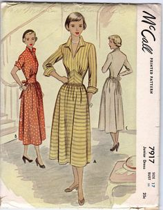 Vintage 1949 McCall 7917 Yoked Midriff Gathered by MillefioriDesigns1