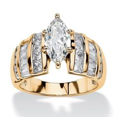 Palm Beach Jewelry 3.87 TCW Marquise-Cut Cubic Zirconia Ring in 18k Gold over Sterling Silver Glam CZ