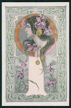 SG MJS Art Nouveay Lady Original Old c1905 French Postcard A8   eBay