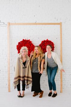 DIY heart backdrop for photo or home decor - chicken wire, wooden frame and red napkins.