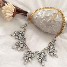 Clear Crystal Flower Drop Glass Statement Necklace Clear Crystal Flower Drop Glass Statement Necklace Boutique Jewelry Necklaces