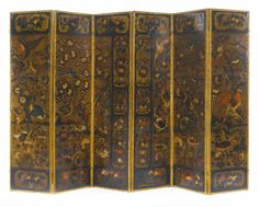 A DUTCH BAROQUE POLYCHROME-PAINTED AND EMBOSSED LEATHER SIX-PANEL SCREENlate 17th/early 18th century