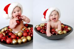 christmas baby photo idea by Clara Rubio Castillo Baby Christmas Photos, Xmas Photos, Holiday Pictures, Christmas Minis, Babies First Christmas, Family Christmas, Christmas Photo Props, Baby Kalender, Foto Baby