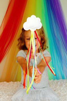 DIY Rainbow Wands. glitter felt, ribbon, long wooden dowels, hot glue, stuffing.
