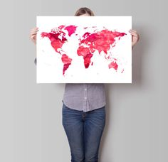 Large Floral World Map Poster World Map Print X And X - World map poster large download