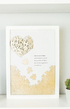 DIY Puzzle Heart Mural - Beautiful DIY Gift Idea- Puzzle Herz Wandbild basteln – schöne DIY Geschenkidee DIY puzzle heart mural tinker – nice gift idea for valentines day or mothers day and a nice decoration in the home living room …. Upcycled Crafts, Diy And Crafts, Crafts For Kids, Diy Gifts, Best Gifts, Father's Day Diy, Fathers Day Crafts, Diy Décoration, Boyfriend Gifts