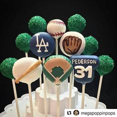 #Repost @megspoppinpops with @repostapp ・・・ LA Dodgers cake pops! Thank you @leslie102731 for this request. I hope hubby loved them like I do! The field is my favorite ⚾️!! I owe a giant thanks to @pinkpoppypastriesandpops for helping me make all my cakepop visions come to life ❤️! . . . . #megspoppinpops #cakepops #cake #cakes #cakepop #cakelovers #chocolate #instacake #picoftheday #bakersofinstagram #photooftheday #pictureoftheday #instalike #instapics #instafollow #baking #poppypaint…