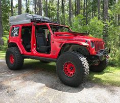 Red Jeep, Jeep Jl, Jeep Cars, Jeep Truck, Jeep Wrangler Rubicon, Jeep Wrangler Unlimited, Truck Roof Rack, Good Morning Gorgeous, Jeep Camping