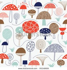 stock vector : seamless pattern with mushrooms