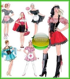 Simplicity 3618 Sexy Pirate French Maid Riding Hood Patterns
