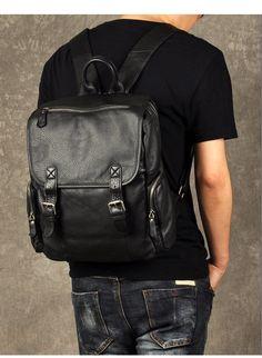 Leather Backpack, Leather Rucksack, Black Leather Backpack, Fashion Bag, LARGE Backpack GZ018