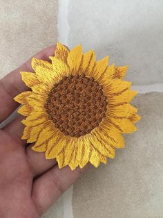 Yellow Sunflower Iron On Patch Embroidered Floral Appliques Cute Patches, Diy Patches, Pin And Patches, Iron On Patches, Embroidery Patches, Silk Ribbon Embroidery, Embroidery Patterns, Machine Embroidery, Knitting Patterns