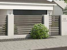 Fence Gate Design, Modern Fence Design, House Gate Design, Patio Design, Wall Exterior, Building Exterior, Front Wall Design, House Construction Plan, Tor Design