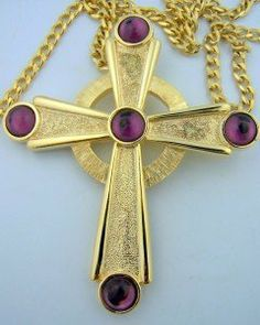 """Gold Round Crystal Amethyst Bishops Pectoral Cross with Fine Gilded 30"""" Chain Needzo Religious Gifts. $149.95"""