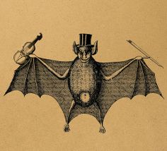 A bat. With a violin. Not sure what the symbolism is here...