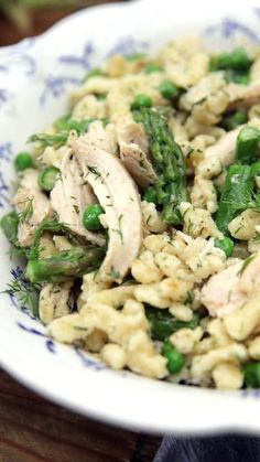This easy homemade egg noodle dish pairs deliciously with mascarpone cheese, peas and asparagus.