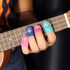 Guitar Fingertip Protector Silicone Finger Guard for Sky Blue Medium