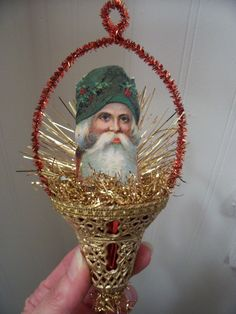 Antique Vtg. Look Christmas Ornament, SANTA in Vtg. BELL, Scrap,Tinsel, Handmade