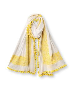 "Hand Embroidered Scarf - love, love, love this"" Bang on trend with the… Duppata Style, Spring Collection, Dress Collection, East Clothing, Woman Clothing, Linen Trousers, Churidar, Mellow Yellow, Gray Jacket"