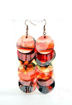 Upcycled earrings PET plastic paper tangerine by Filoecoloridiila, €18.00