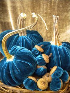 Velvet PUMPKINS & Velvet ACORNS - Real Pumpkin Stems and Real Acorn Caps - Dark Teal