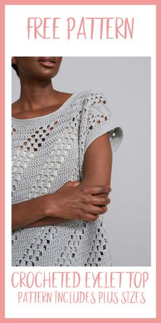 Crocheted Diagonal Eyelet Top-Free Pattern - Nana's Favorites This easy to crochet Eyelet Top is light and airy and perfect for any summer wardrobe. The FREE pattern instructions also includes plus sizes! T-shirt Au Crochet, Cardigan Au Crochet, Pull Crochet, Gilet Crochet, Mode Crochet, Crochet Shirt, Crochet Woman, Crochet Sweaters, Crochet Vests