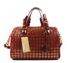 3d10aee327d4 Fashion Michael Kors Grayson Stud Detail Satchel Red  Michael Kors 025  ...385 x 36567.6