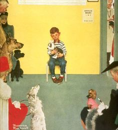 """Norman Rockwell, """"Boy at the Veterinarian's Office"""", 1952."""
