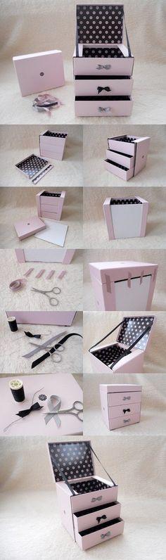 Cardboard Crafts, Paper Crafts, Diy Crafts, Cardboard Boxes, Cardboard Jewelry Boxes, Jewellery Storage, Jewelry Organization, Diy Jewelry, Room Organization