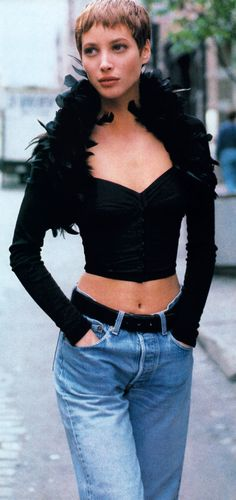 Christy Turlington photographed by Pamela Hanson for Elle magazine, August 1990. Bustier by Dolce  Gabbana.