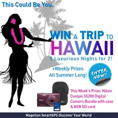 Win a trip for 2 to #Hawaii from Magellan! Plus, enter to win weekly prizes all summer long! This week's prize: Nikon Camera. Enter now! #Giveaway #SmartGPS #Camera