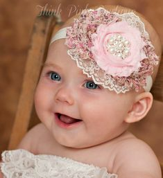 Baby Headband Baby Headbands Newborn Headband by ThinkPinkBows Shabby Chic Headbands, Diy Headband, Newborn Headbands, Baby Girl Headbands, Baby Bows, Shabby Flowers, Fabric Flowers, White Flowers, White Lace