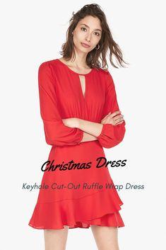 4f8bd96fe65 Keyhole Cut-Out Ruffle Wrap Dress - Christmas dress -  dress  fashion  style   womensfashion  ad  express  red  stylish  woman  women  ladys  hot  sexy