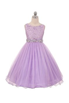 Flower Girl Dress lilac lavender sequined bodice by CreativeCabral