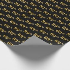 Black Faux Gold 89th (Eighty-Ninth) Event Wrapping Paper - anniversary gifts ideas diy celebration cyo unique