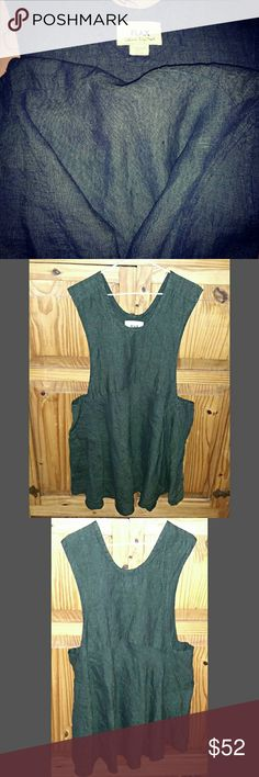 FLAX by Jeanne Englehart Olive Green Dress Pockets 100% Linen Flax dress. Made in Lithuania. Long deep arm holes-Angled Pockets below each. EXCELLENT brand new condition.  Smoke and pet free home. NO trades. flax Dresses Mini